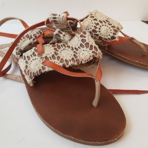 Anthropologie Faryl Robin boho sandals lace